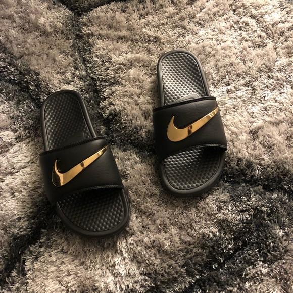 Nike Slides Sandals Gold Swoosh Customs